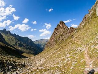 Crossing mountain peaks between Neuberg alm and Tiefental alm